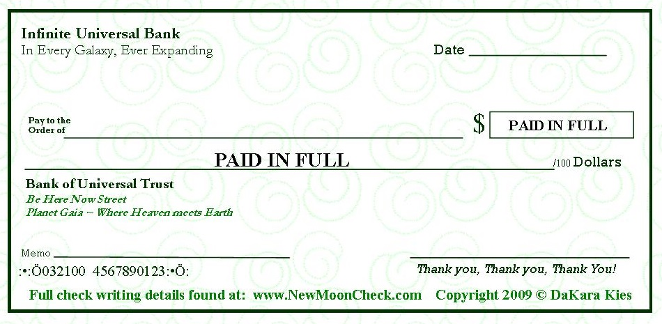 This is an image of Printable Abundance Check throughout magic